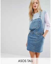 Asos Tall Asos Tall Denim Overall Dress In Mid Wash Blue