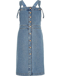 River Island Blue Denim Button Up Pinafore Dress