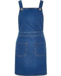 River Island Bright Blue Denim Overall Pinafore Dress