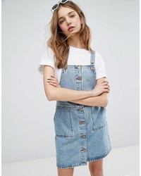 Monki Button Down Denim Overall Dress