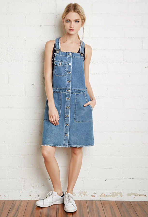 fdf3e3a295 Forever 21 Buttoned Denim Overall Dress