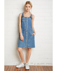 Forever 21 Buttoned Denim Overall Dress
