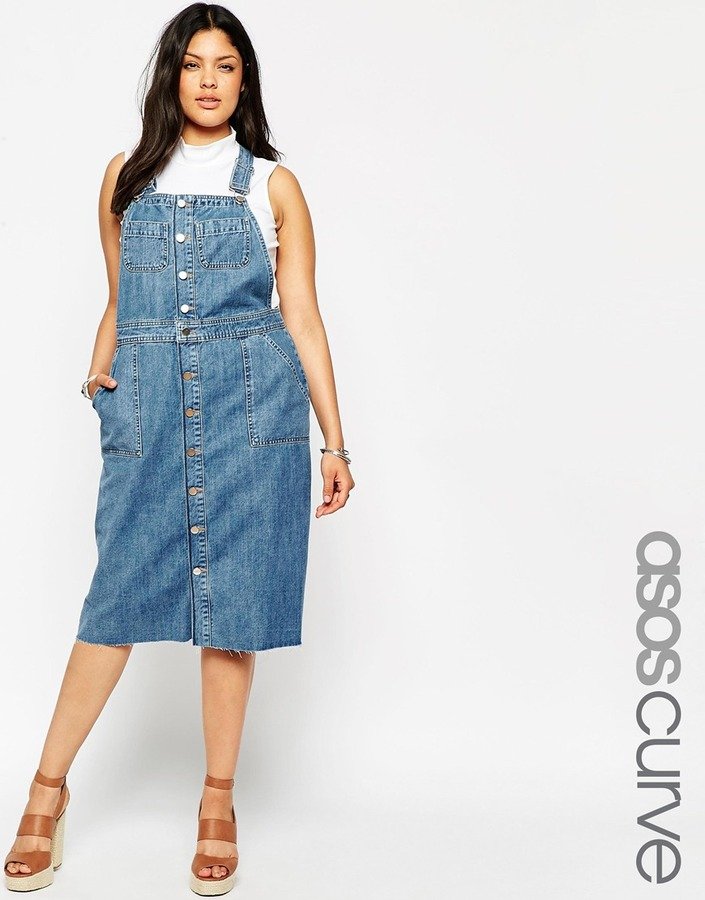 retail prices double coupon biggest selection $66, Asos Curve Midi Denim Pinafore Dress With Raw Hem