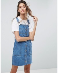Asos Denim Overall Button Through Mini Dress In Midwash Blue