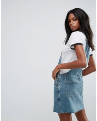 Asos Denim Overall Dress In Mid Wash Blue