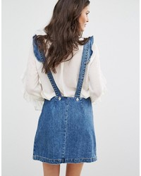 Mango Denim Overall Dress With Stars Embroidery