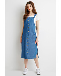 Forever 21 Longline Chambray Overall Dress