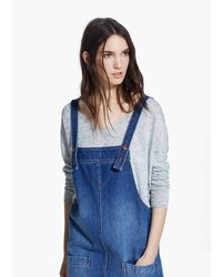 Mango Outlet Medium Denim Pinafore Dress