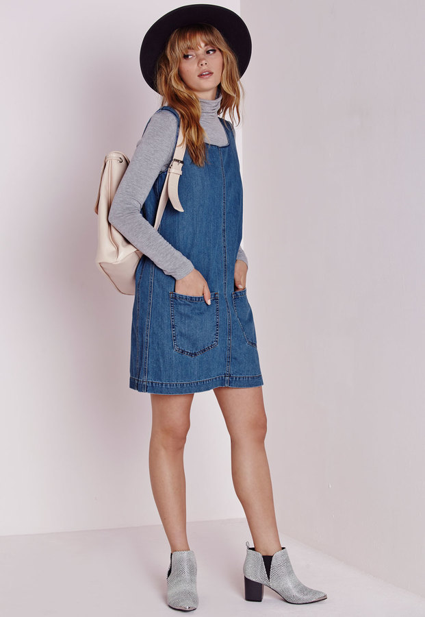 limited sale save off innovative design Denim Pinafore Dress Indigo