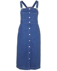 Topshop Moto Denim Midi Pinafore Dress
