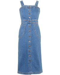 Topshop Moto Pinafore Button Front Dress