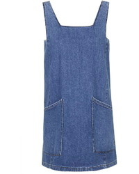 Topshop Moto Square Neck Denim Pinafore Dress