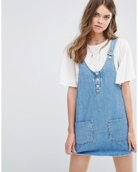 Pull&Bear Overall Pinny Dress In Denim