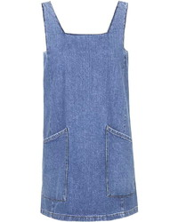 Topshop Petite Moto Square Neck Denim Pinafore