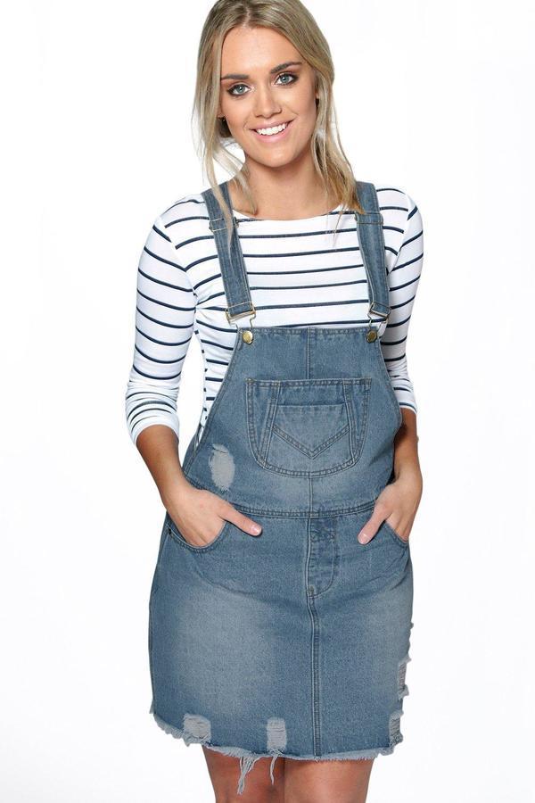 112ce432727 ... Overall Dresses Boohoo Plus Louise Fray Edge Denim Pinafore ...