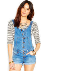 Free People Century Denim Botton Front Shortall Romper Dove Wash