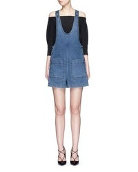 Tibi Denim Cargo Short Overalls