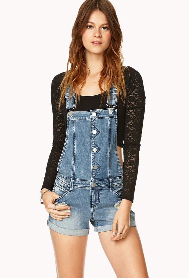 3a2b2cfe111 ... Forever 21 Distressed Overall Shorts ...