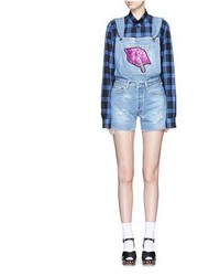 Forte Couture Le Bon Glitter Lip Patch Denim Short Overalls