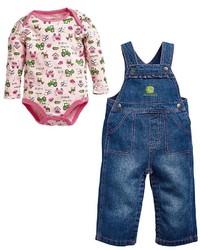 John Deere Baby Girl Print Bodysuit Denim Overalls Set