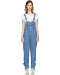 Sjyp Blue Denim Strap Overalls