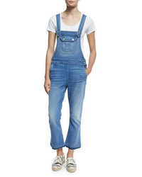 7 For All Mankind Cropped Denim Overalls Delphi Beach