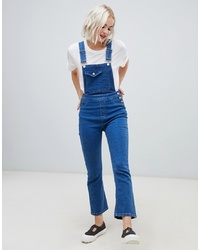 ASOS DESIGN Denim Dungaree With Kickflare In Midwash Blue