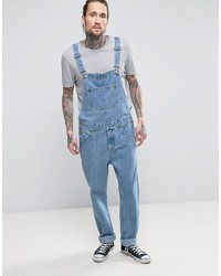 Asos Denim Overalls In Mid Blue Wash
