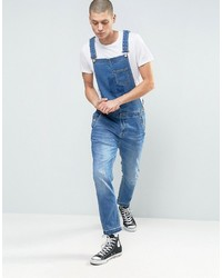 Asos Denim Overalls With Abrasions And Raw Hem In Mid Blue