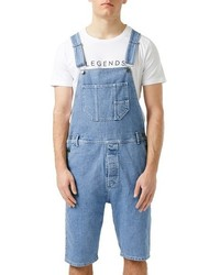 Topman Denim Short Overalls