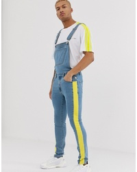Liquor N Poker Dungaree With Neon Green Stripe Detailing In Blue Wash