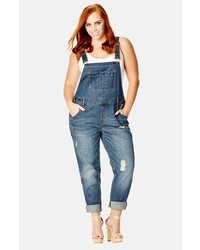 City Chic Over It All Distressed Denim Overalls