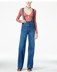 Free People Penrose Brightest Blue Wash Overalls