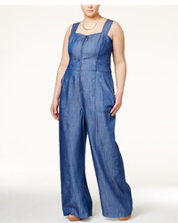 Rachel Roy Rachel Curvy Plus Size Denim Wide Leg Jumpsuit