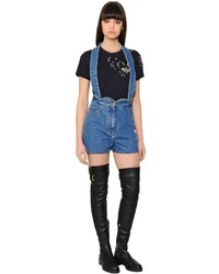 Valentino Scalloped Waist Cotton Denim Overalls