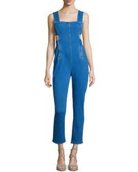 Sleeveless Jumpsuit Wwaist Cutout Medium Blue