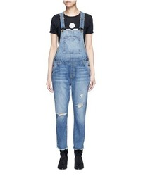 Current/Elliott The Charley Distressed Denim Overalls