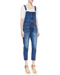 Current/Elliott The Zip Denim Boyfriend Overalls