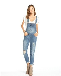 Tinsel Medium Wash Distressed Boyfriend Overalls
