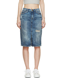 Current/Elliott Blue Denim The High Waist Pencil Skirt