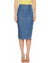 Moschino Boutique Skirt With Side Slit And Denim Fringe Skirt