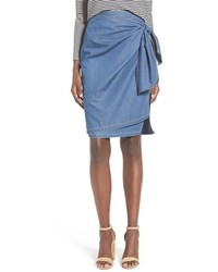 Chelsea28 Tie Front Chambray Skirt