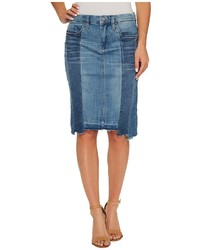 Blank NYC Novelty Denim Pencil Skirt With Seaming Detail Contrast Of Denim Washes In High And Low Skirt