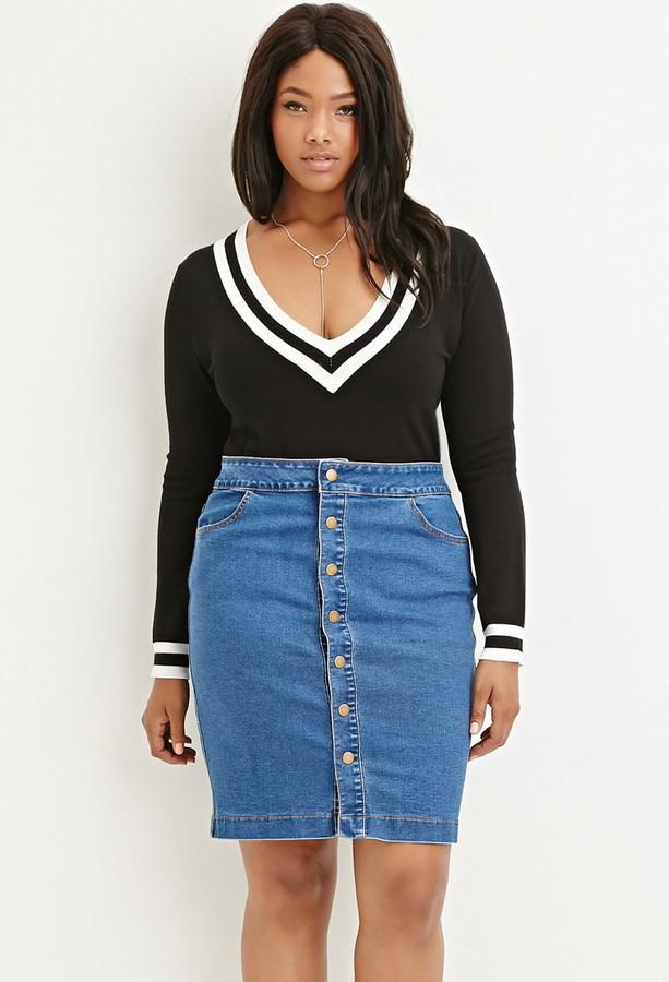 9dfe18e45 Forever 21 Plus Size Buttoned Denim Pencil Skirt, $22 | Forever 21 |  Lookastic.com