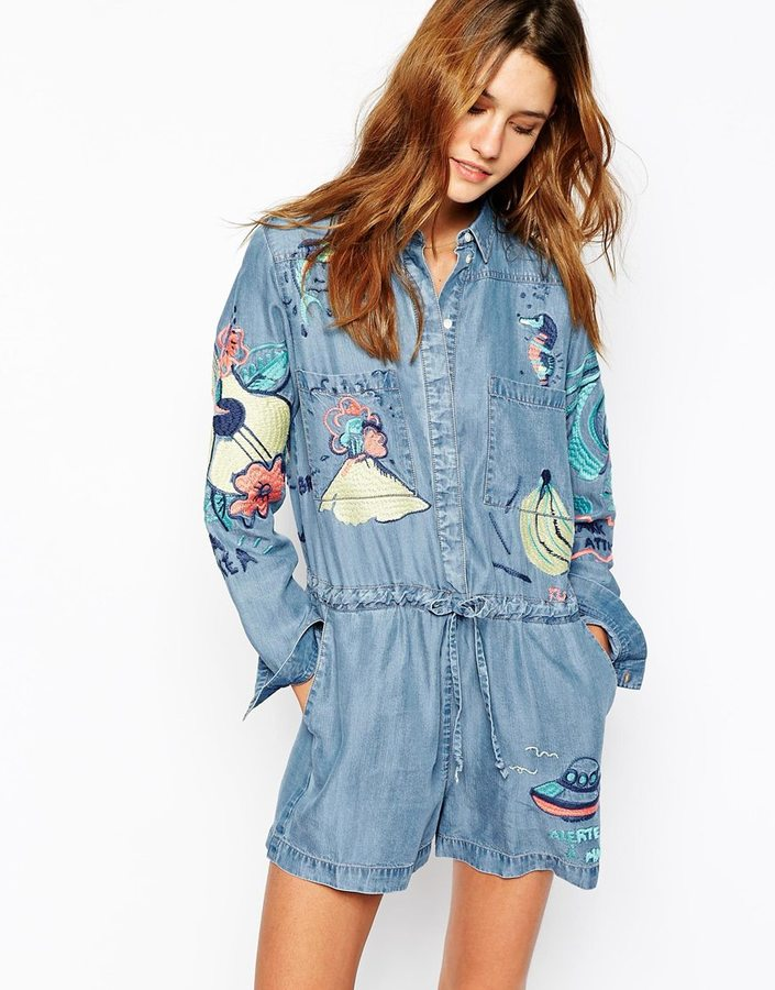 Paul & Joe Sister Denim Romper with Embroidered Detail