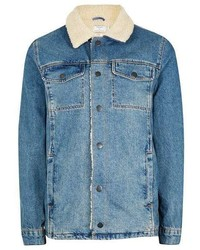 Blue Denim Shearling Jacket