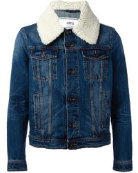 AMI Alexandre Mattiussi Shearling Collar Denim Jacket