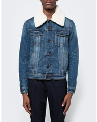 Ami Denim Jacket Shearling Collar