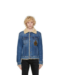 Dolce and Gabbana Blue Denim Shearling Jacket
