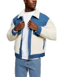 Topman Cut Sew Borg Denim Jacket